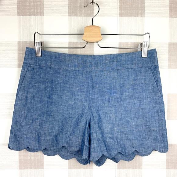 LOFT Pants - LOFT the Riviera Short Linen/Cotton Scallop Sz 4